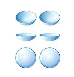 realistic contact lenses blue mock up set vector image