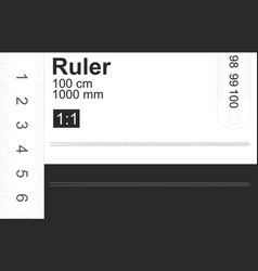 Ruler is 100 cm 1000mm black and white 1 1 scale vector