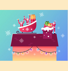 Santa claus characters sitting in reindeer sledge vector