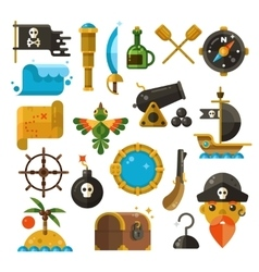 Sea adventure pirate weapon treasure vector image