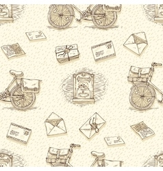 Seamless Pattern with Bicycles Envelopes vector