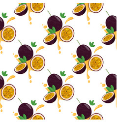Seamless pattern with whole passion fruit vector