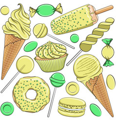 seamless pattern with yellow and green sweets vector image