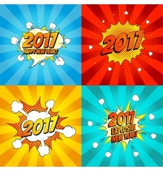 Set of comic happy new year banners vector