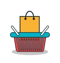Shopping bag and basket isolated icon design vector