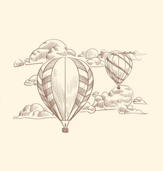 sketch air balloon in clouds flight travel air vector image