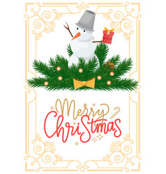 snowman with bucket on head on spruce branches vector image