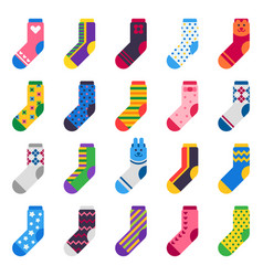 Sock icon sport long socks kids feet clothes and vector