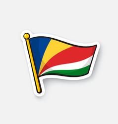 Sticker flag seychelles vector