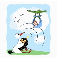 Stork carrying baby with quadrocopter vector
