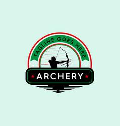 Strong archery badge vintage logo vector