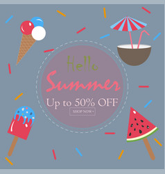 summer summer sale card up to 50 off vector image