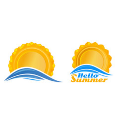 sun over the sea wave set logo icon vector image
