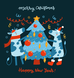 symbol year bull and ox decorate the vector image