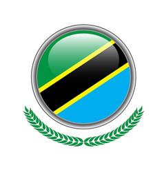 tanzania flag button tanzania flag icon of vector image