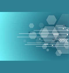 technology background with arrows and hexagons vector image