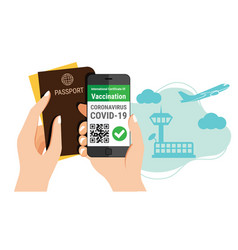 Tourisms hand holds passport and a smartphone vector