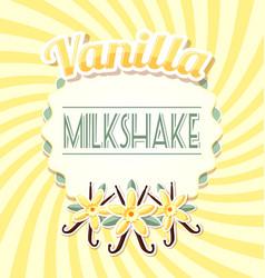 vanilla milkshake label in retro style on twisted vector image