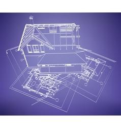 Wireframe building over blueprint vector