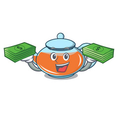 with money bag transparent teapot character vector image