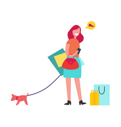 woman with red hair shopping vector image