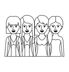 women in half body with casual clothes and long vector image