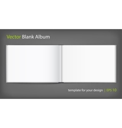 Blank of open album with cover on grey background vector image vector image