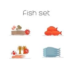 Foods market fish flat icons set vector image