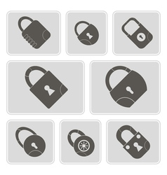 monochrome icons with locks vector image vector image