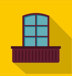Retro window and flowerbox icon flat style vector