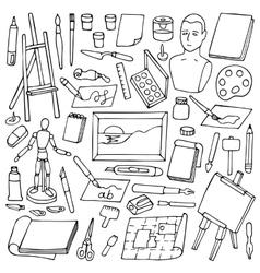 Set with doodle art elements vector image