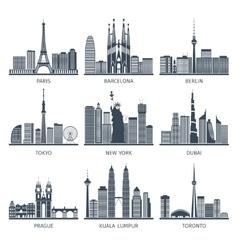 Urban Skylines Icons Set vector image