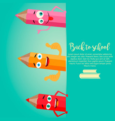 back to school vertical background with pencils vector image