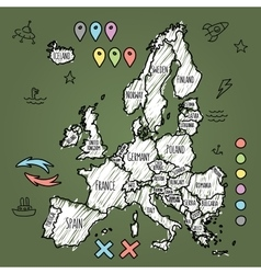 Doodle Europe map on green chalkboard with pins vector image vector image