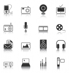 mass media icons white series vector image vector image