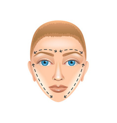Plastic surgery face isolated on white vector image vector image