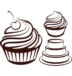 simple with desserts vector image vector image