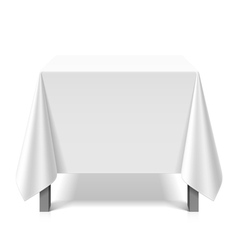Square table covered with white tablecloth vector image