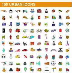 100 urban icons set cartoon style vector image vector image