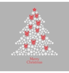 Christmas tree made from snowflakes with stars vector image