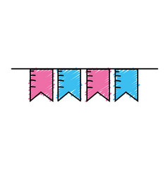 cute party flag hanging design vector image vector image