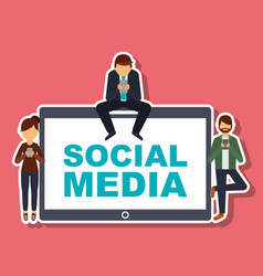 social media people with mobile phone technology vector image