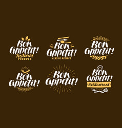 bon appetit lettering restaurant label set vector image vector image