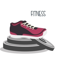 cartoon sneakers fitness sport elements design vector image vector image