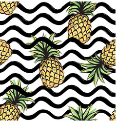Abstract wave seamless pattern with pineapple vector