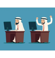 Arab Businessman at Desk Working on Computer vector image