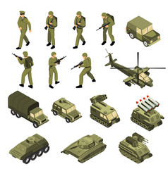 army isometric icon set vector image