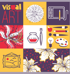 art supplies art tools for painting drawing vector image