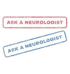 Ask a neurologist textile stamps vector