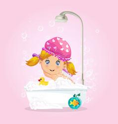 Baby in bath girl taking bubble bath with foam vector